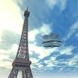 有幻想飞艇的艾菲尔铁塔 免版税库存图片