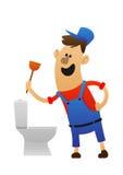 有洗手间的漫画人物快乐的水管工 免版税图库摄影