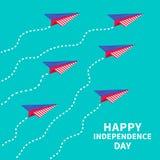 有破折号线的六架纸飞机 愉快的独立日美利坚合众国 7月4日 库存图片