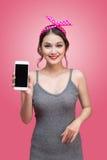 有画报构成和发型的ov美丽的年轻亚裔妇女 库存照片