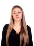 有直接长的金发的美丽的时尚女孩 免版税库存图片