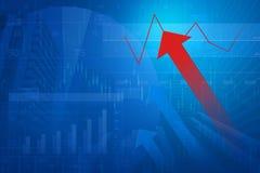 有财政图和图表的红色箭头头在城市backgroun 库存照片