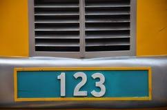 有123数字的车号牌 免版税库存照片