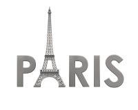 有巴黎文本的艾菲尔铁塔 免版税库存照片