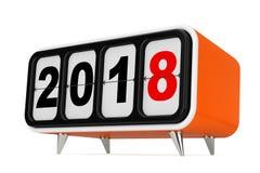 有2018新年标志的减速火箭的轻碰时钟 3d翻译 免版税库存照片