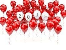 有2015新年标志的红色气球 免版税库存照片