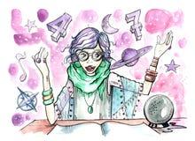 有水晶球的女性占卜者和不可思议的标志所有在她附近 向量例证