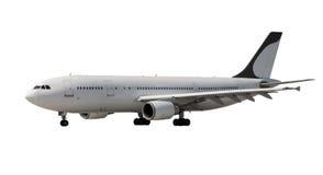 有黑暗的起落架的飞机在白色 免版税库存照片