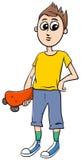 有滑板动画片的青少年的男孩 皇族释放例证