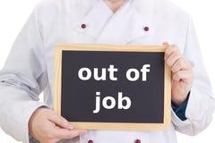 有黑板的厨师:在工作外面 免版税图库摄影
