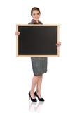 有黑板的妇女 库存图片