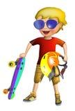 有滑板的小男孩 库存例证