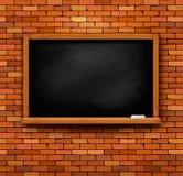 有黑板的砖墙 免版税图库摄影