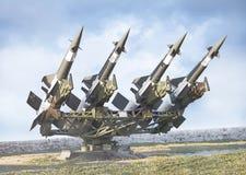 有4枚导弹的苏联空对空防空电池 免版税库存图片