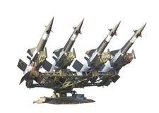 有4枚导弹的苏联空对空防空电池 免版税图库摄影