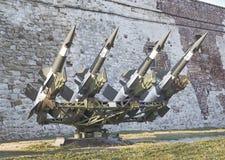 有4枚导弹的苏联空对空防空电池 图库摄影