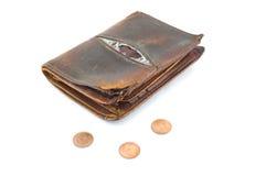 有3枚硬币的钱包 免版税图库摄影