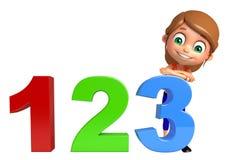 有123标志的孩子女孩 免版税库存照片