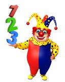 有123标志的小丑 免版税图库摄影