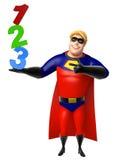 有123标志的超级英雄 免版税库存图片