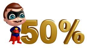 有50%标志的逗人喜爱的superbaby 库存图片