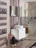 有水槽的现代卫生间 免版税库存图片