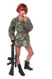有攻击步枪的妇女 免版税库存照片