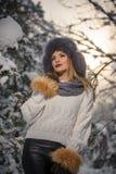 有黑毛皮盖帽和灰色披肩的可爱的妇女享受冬天的 前面观点的有构成的时兴的深色的女孩 库存图片