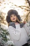 有黑毛皮盖帽和灰色披肩的可爱的妇女享受冬天的 前面观点的有构成的时兴的深色的女孩 免版税库存照片