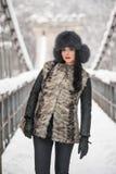 有黑毛皮盖帽和灰色背心的可爱的妇女享受冬天的 前面看法时兴深色女孩摆在 库存图片