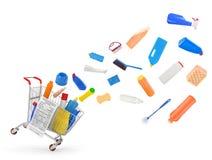 有洗涤剂的购物车 库存照片