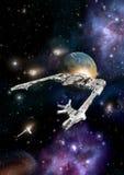有伴游战斗机的空间巡洋舰 皇族释放例证