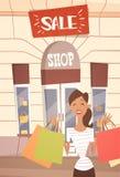 有购物袋大销售横幅Retial商店外部的动画片妇女 库存例证