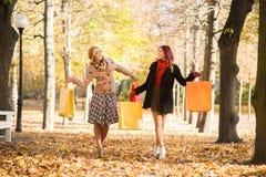 有购物袋的两个愉快的朋友走通过公园的 库存照片