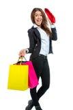 有购物袋的女孩 免版税库存照片