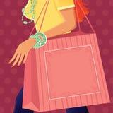 有购物袋的女孩 库存图片