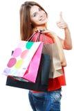有购物袋的妇女 免版税库存图片
