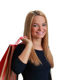 有购物袋的妇女 图库摄影