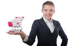 有购物车的女实业家 免版税库存照片