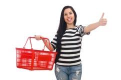 有购物车的妇女 免版税库存图片