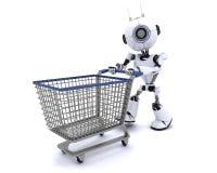 有购物车的机器人 免版税库存图片