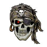 有黑班丹纳花绸的海盗头骨 头骨艺术 免版税库存照片