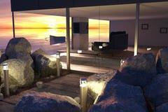 有玻璃墙和木Bu的现代客厅 库存图片