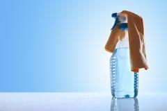 有玻璃清洁剂和旧布的瓶 免版税库存图片
