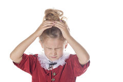 有头疼和问题的小女孩 被隔绝的射击 库存照片