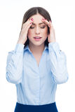 有头疼妇女 免版税库存照片