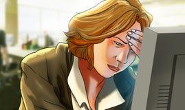有头疼的妇女在计算机前面的工作 免版税库存照片