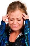 有头疼的妇女 图库摄影