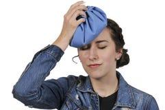有头疼的妇女 免版税图库摄影