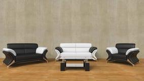有黑白家具的现代客厅 免版税图库摄影
